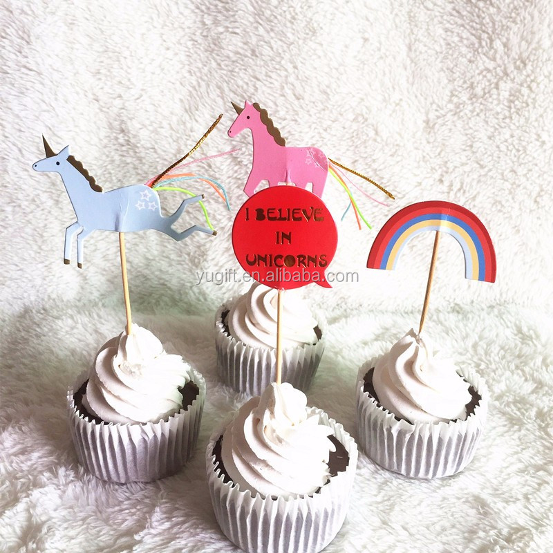 Hot Sale party unicorn and rainbow Decoration paper Cupcake Topper Picks cupcake decoration 24pcs