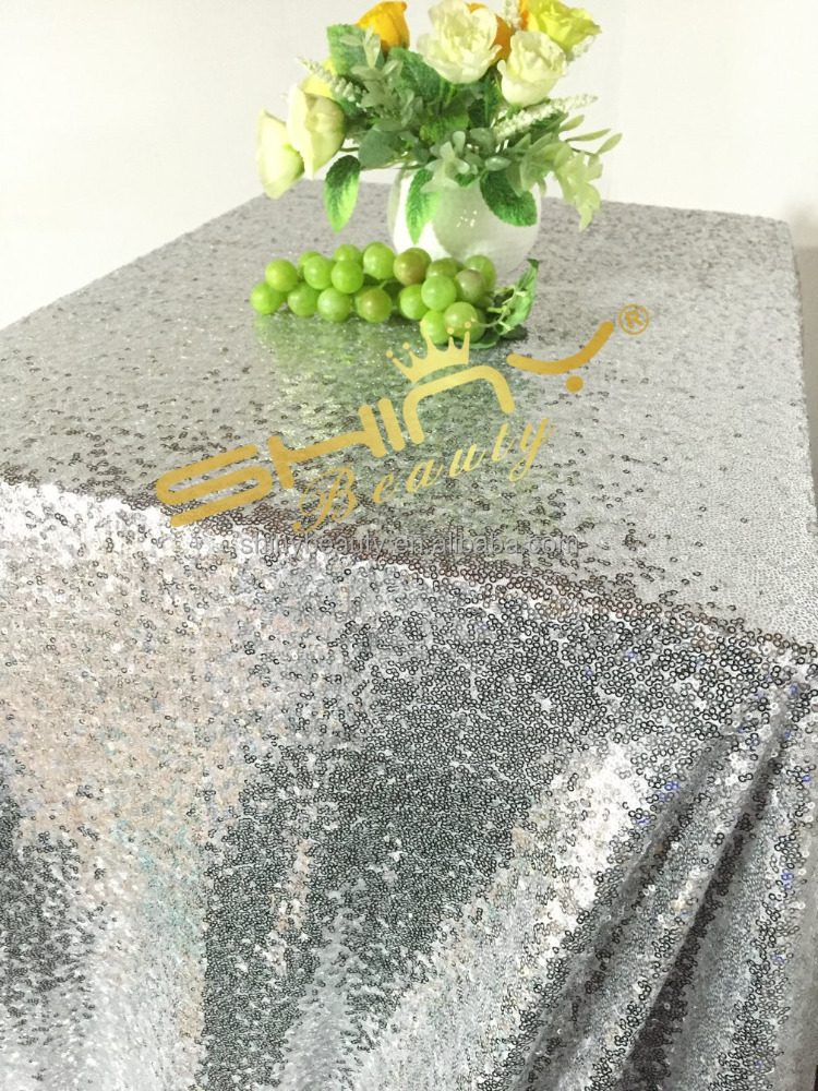 Shinybeauty sequin tablecloth 90x132 silver Embroideried fabric For Wedding