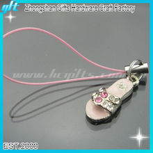 2016 Hot sale cheap price slippers shape soft enamel mobile phone chain/key chain/charm with rhinestone for wholesale