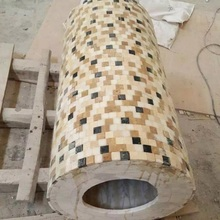 Stone CNC natural stone mosaic Water Jet pattern wash water basin with stand marble brick