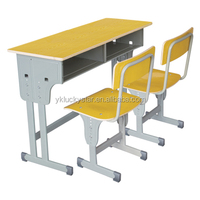 Adjustable/Casing Lifting Wooden Boards Double School Desk and Chair for Students/School Furniture