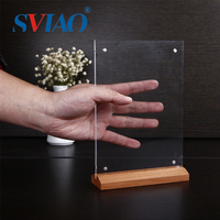 Trade assurance custom restaurant tabletop accessories wooden and acrylic menu holder stand