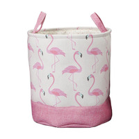 Household Round Baby Gift Toy Book Canvas Fabric Organizer Carry Storage Basket with Handle