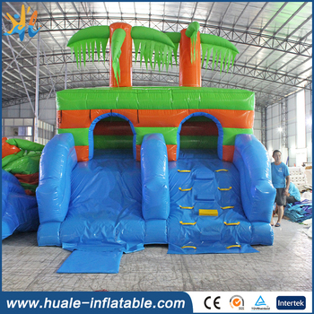 Outdoor Inflatable Coconut Tree Wet / Dry Slide,Inflatable Tunnel Twisted Water Park For Kids