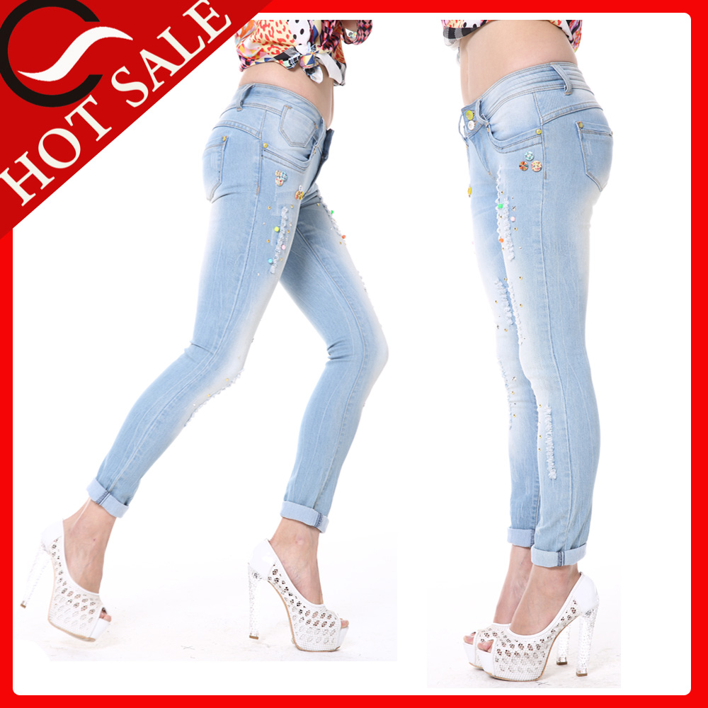 Ladies Stretch Jeans Factories in Guangzhou with Embroidery Beads