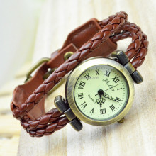 Simple Design European Beads Charm Frienship Mens Woman Leather Bracelet Wrist Watch