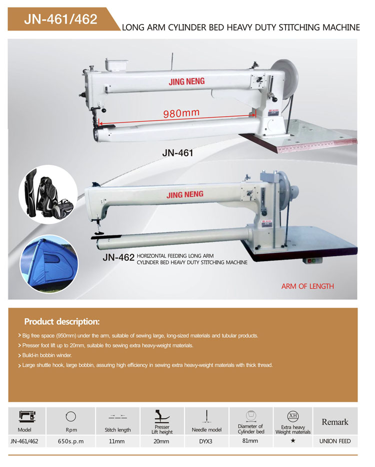 Cylinder bed long arm industrial sewing machine