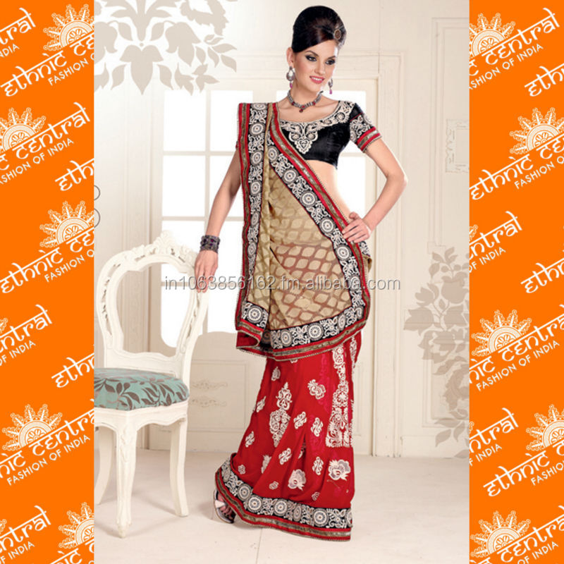 ETHNIC CENTRAL's indian wedding silk fabric sari with magic wrap skirts / choli with border designs and blouse