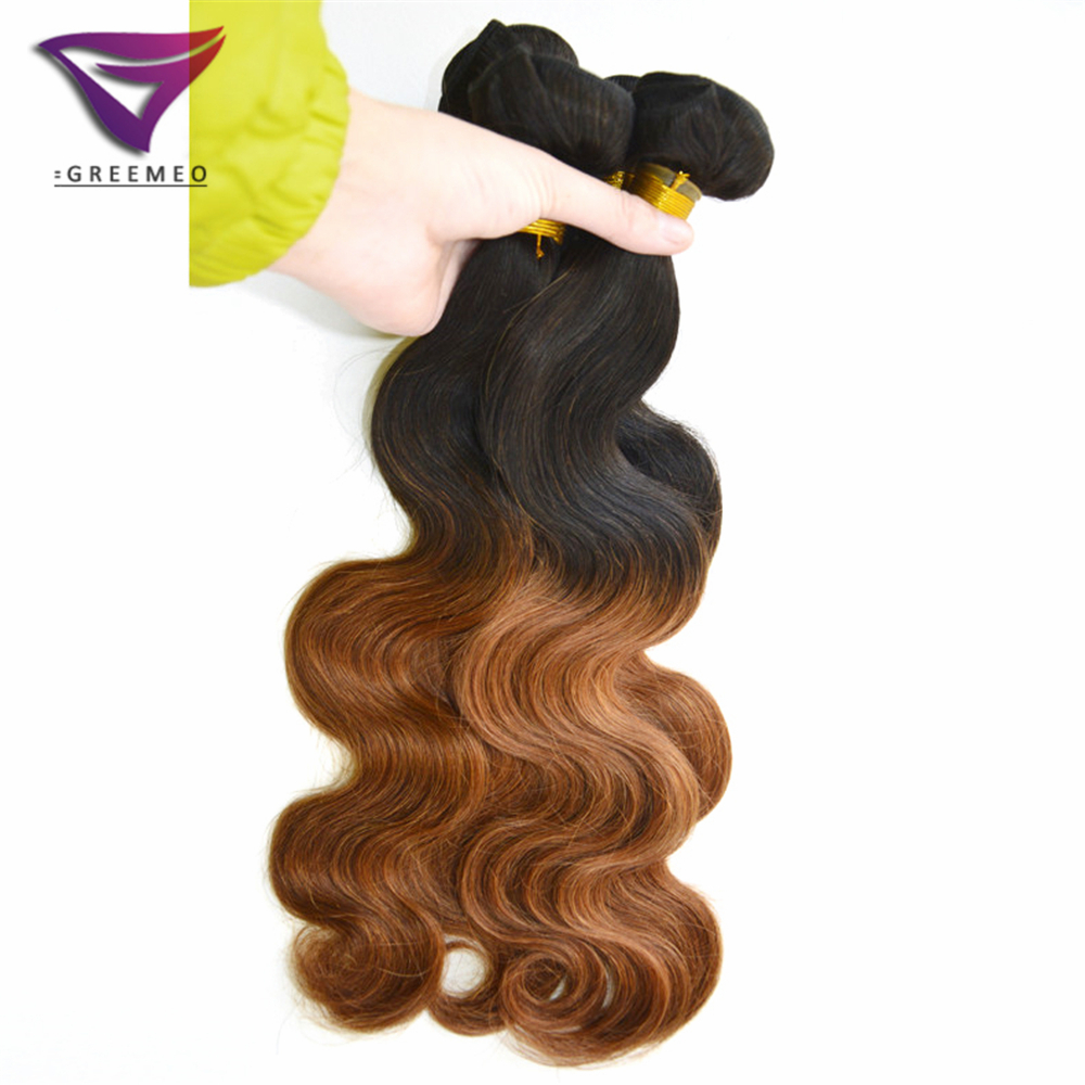 Buy 3 Bundles Lot Cheap Humano Hair Weave Ombre Hair Extension 10 26