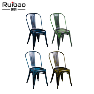 Chinese Supplier Colorful Stackable Metal Chairs For Outdoor Retro Garden Dining Room Restaurant