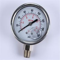 New Design Durable Light Weight Easy To Read Clear Bourdon Tube Pressure Gauge With Pressure Snubber