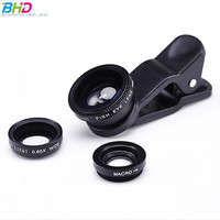 Print logo smart Phone Camera Lens Kit 3 in 1 Clip on Lens 180 Degree Fish Eye with 130 Degree Wide Angle lens for iphone 7 6