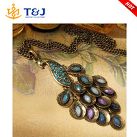 2015 New Antiqued Peacock Multi Sequin Long Necklace crystal Jewelry For Women Best Gift /