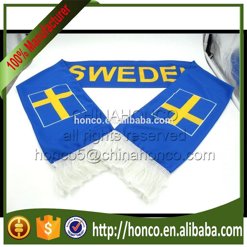 Sweden knitted polyester scarf/sweden football fans knitting polyester scarf for Euro 2016