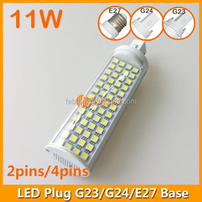 Two 2 pins pl plug g24 11w led light, pl LED down lighting ultra bright