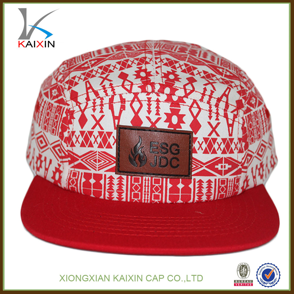 Leather patch strap back digital printing 5 panel hat sex image