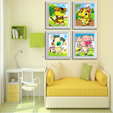 12 Chinese zodiac 5D diamond painting needlework cartoon animal picture for children cross