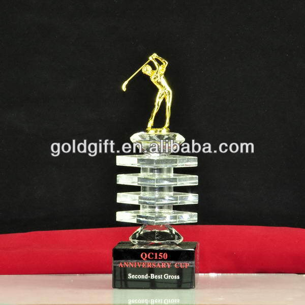 Top grade hotsell fashionable crystal golf trophy figure