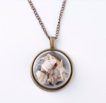 Antique Bronze Plated Handmade Necklace Glass Dome Sea Shell Time Fantasy Pendant Necklace