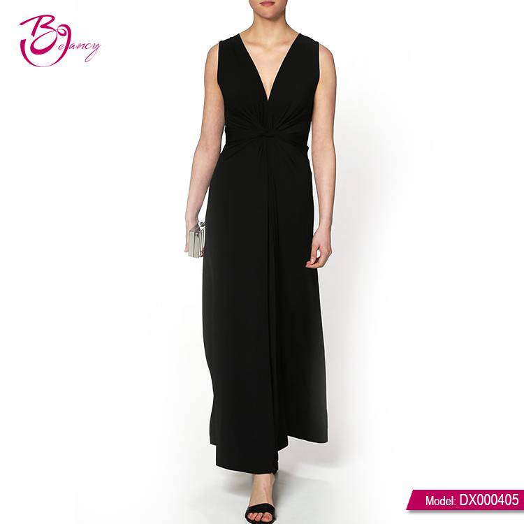 Trending Hot Products Sleeveless Black Simple Long Dress