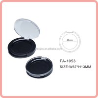 PA-1053 Shiny black round empty blush container plastic blush palette