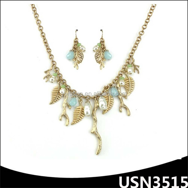 Fashion Rhinestone wedding jewelry sets pearl tree of life plated gold pendant necklace