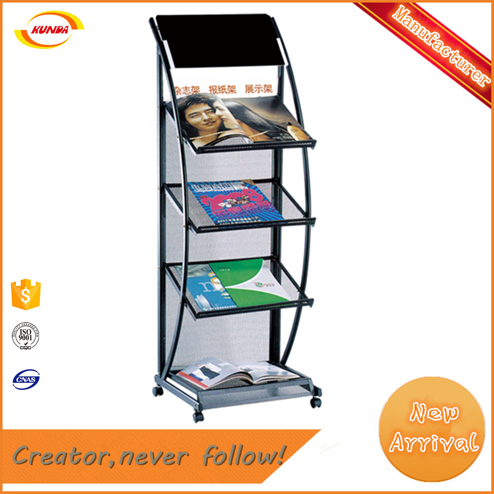 Elegant design showroom postcard stainless steel brochure display stand with 4 wheels Kunda J-018