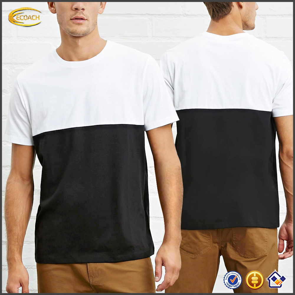 2016 men plain t shirt with short sleeves casual cotton-blend knit tee shirts white and black wholesale