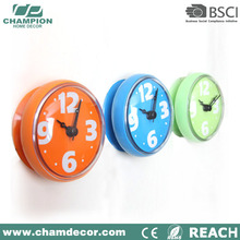 Round waterproof Plastic suction bathroom wall clock,bath clock for bathroom