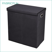 Collapsible fabric double laundry hamper, 2 compartment laundry sorter with magnetic lid closure