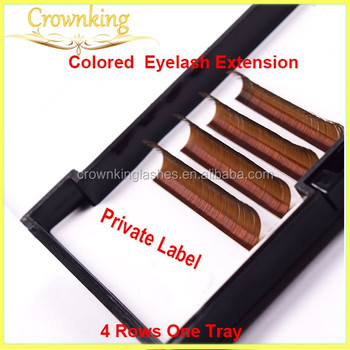 brown colored eyelash extension in 4 rows one tray