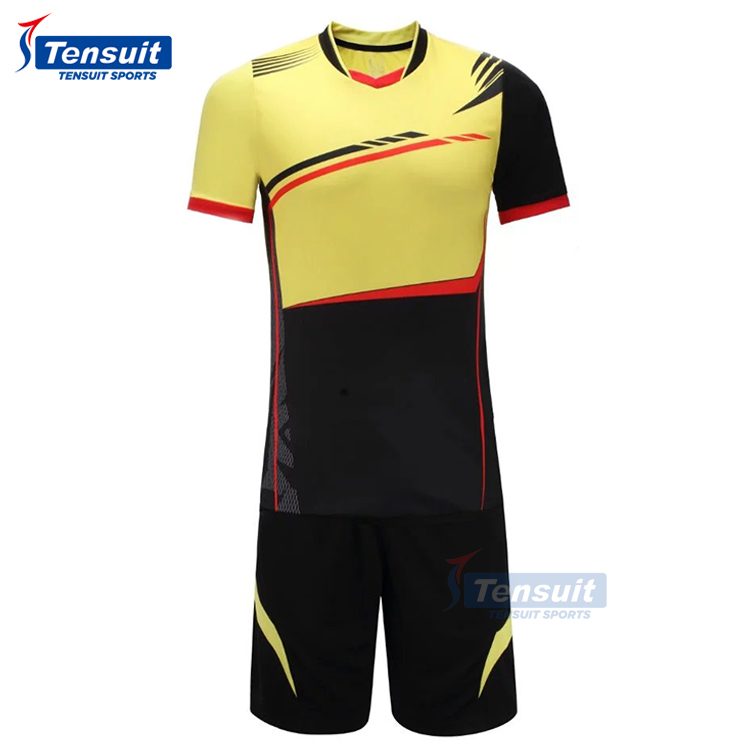 Wholesale thailand quality soccer team jerseys come with shorts cheap stock lot football shirts dry fit polyester sports wear