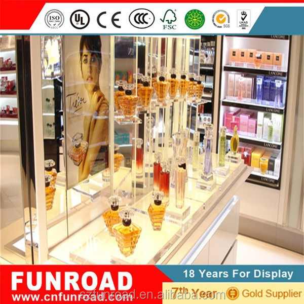 Modern perfume store interor design wooden and glass display cabinet