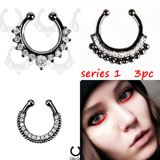 3 PCS 2016 new Black Fake septum Piercing nose ring Hoop nose For Women faux clip Rings clicker non Body Jewelry