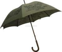 Digital print europe wooden hook carved handle stick umbrella for man