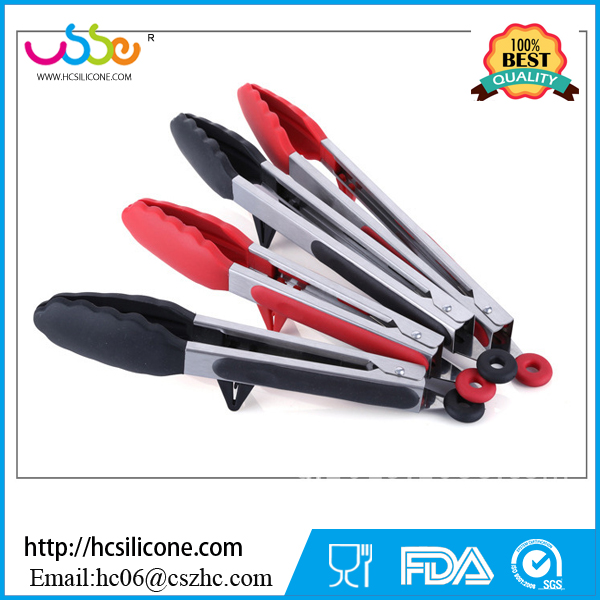 BBQ Tongs Silicone Cover Handle Kitchen Tongs Lock Design Barbecue Clip Clamp Stainless steel Food Tongs