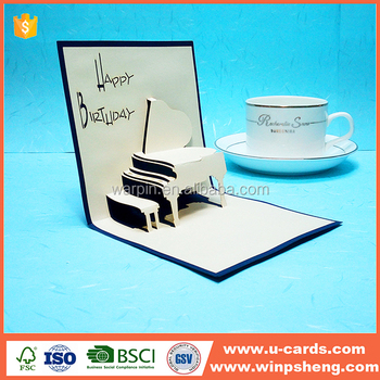 latest wholesale customized laser cut birthday gift box greeting card
