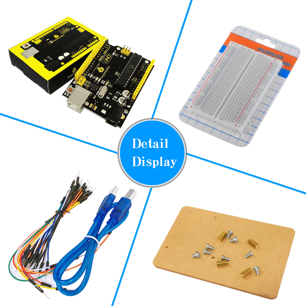 Keyestudio UNO R3 Breadboard kit for MCU starter w/ dupont wire+ LED+resistor