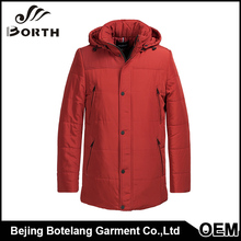 Custom High Quality Red Stand Collar Removable Cap Quilted Quality Materials Thick Cotton Coat Men wear
