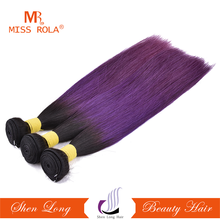 Top quality ombre purple straight hair weaving 100% unprocessed human hair extensions