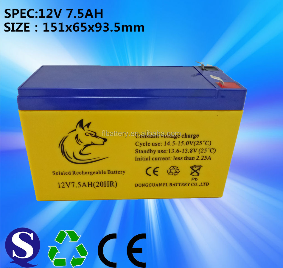 2017 Battery supplier rechargeable 12v 7.5ah Sealed lead acid battery 12v 7ah 20hr agm ups battery