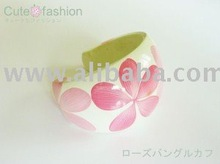 Handcraft bangle white and blue flower paint