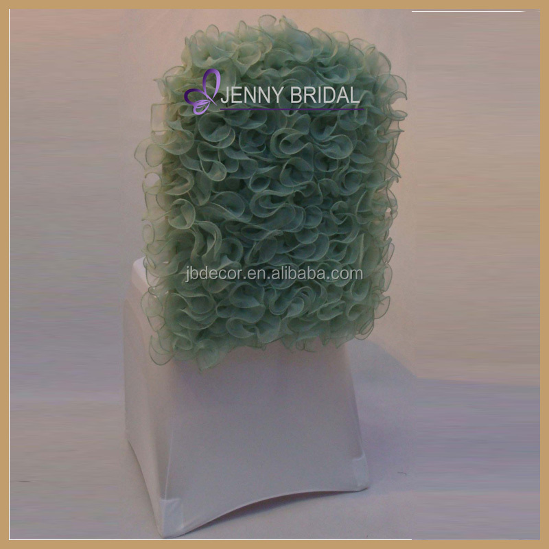 C018A customized luxury round back spandex ruffled chair cover