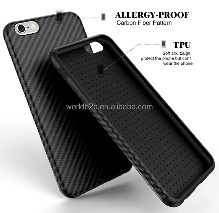 Anti Slip Ultra Slim Soft TPU Shockproof Rugged Carbon Fiber Case for iPhone 7