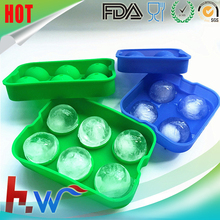 6 Cavity Round Silicone Sphere Ice Ball Molds/Ball Shape Silicone Ice Cube Tray Mold /Silicone Ice Ball