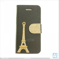 Bling Diamond Iron Tower Book Style Cell Phone Leather Case for iPhone 5/5S P-IPH5CASE135