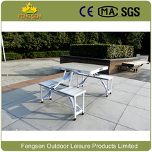 Lightweight portable aluminum folding picnic table and chairs outdoor furniture