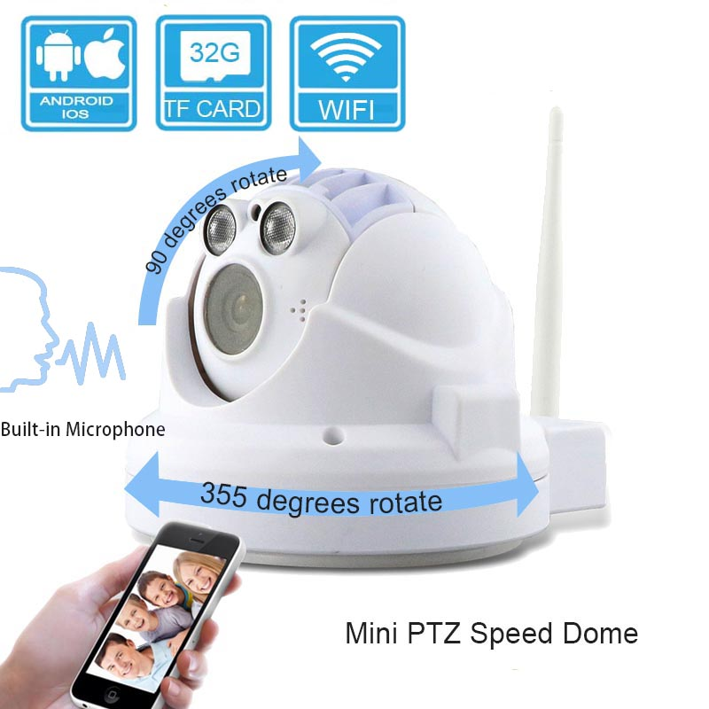Mini indoor WIFI p2p 1080P 2.0MP security IP PTZ dome <strong>camera</strong>
