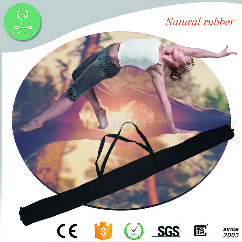Custom Print Eco Yoga Mats Exercise Rubber Round Yoga Mat Manufacturer Eco friendly Mattress with Yoga Mat Bag