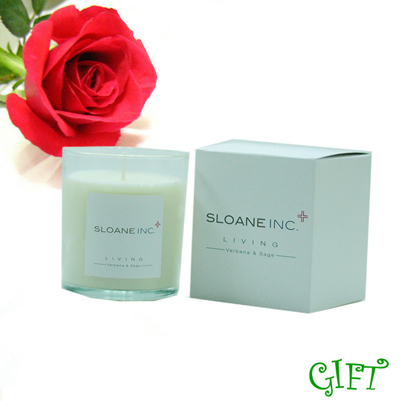 Scented soy wax candles sprayed white glass candle jar with gift box